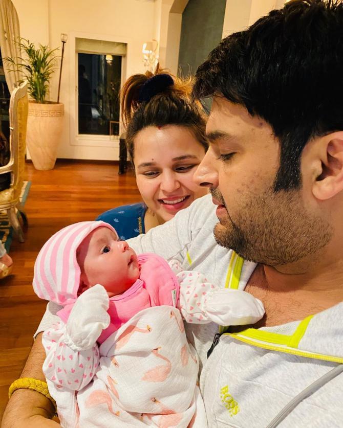Kapil Sharma with Ginni and daughter Anayra