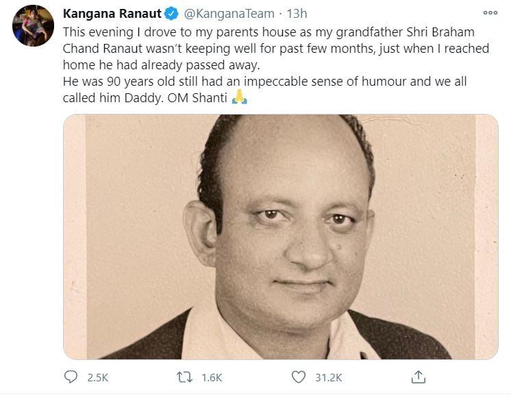 Kangana Ranaut's grandfather